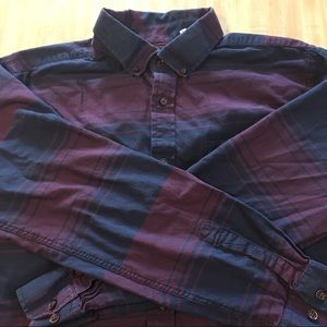 Five Four Button Down Maroon & Navy, Size Large